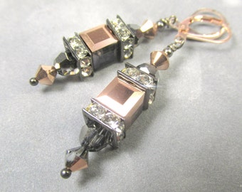 Swarovski Rose Gold and Gray Cubes with Silver Night Rounds Lantern Earrings on Gold Fill Rose Gold Leverback earring wires