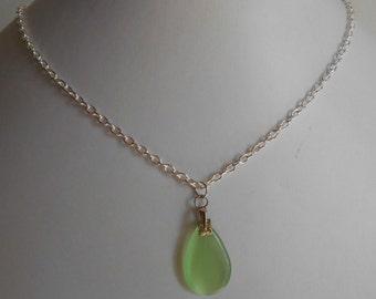 Minimalist necklace water glass green drop