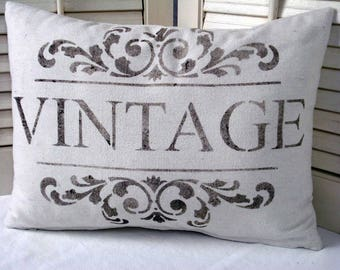 Vintage Farmhouse Pillow Cover Rustic Farmhouse Decor Decorator Pillow  Rustic decor  Fixer Upper Style