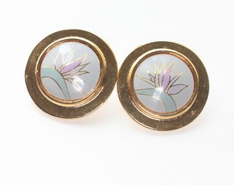 Laurel Burch Floral Earrings Clip On Larger Size Circular Shape Original Card
