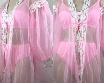 Vintage 60s Babydoll Pink 3 Piece Nylon And Lace Shortie Lingerie Set