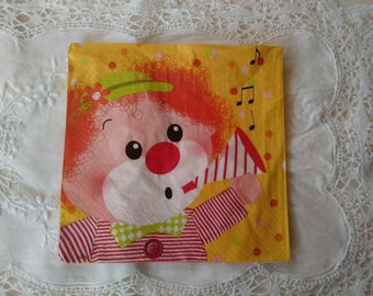 set of 2 napkins papierserviettes paper clown, 2 different sides