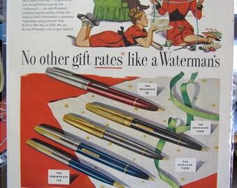 1947 Waterman Watermans Pen SEP Full Page Color Ad Original
