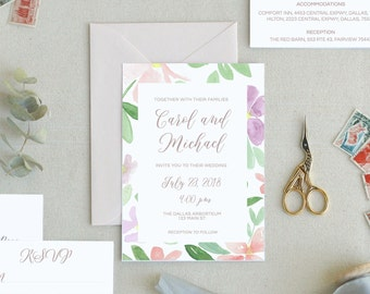 Printable Wedding Invitations Template. Floral Wedding Invitation. Peony Wedding Invitation Templates. Spring Floral Wedding Invitations. -9