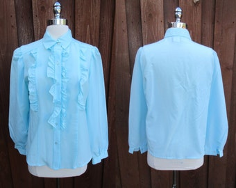 Light Blue Ruffled Top California Connections Button Down Double Ruffles Long Sleeve Polyester Top Sz L