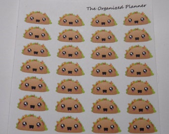 28 Kawaii Taco Stickers / Food Stickers