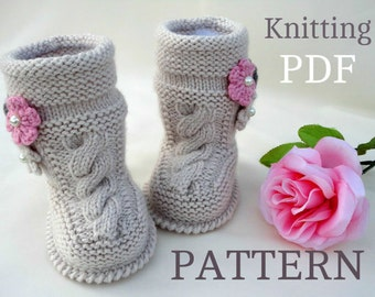 Knitting PATTERN Baby Booties Baby Girl Shoes Pattern Knitted Baby Booties Pattern Baby Booty Baby Uggs Patterns Baby Boots ( PDF file )