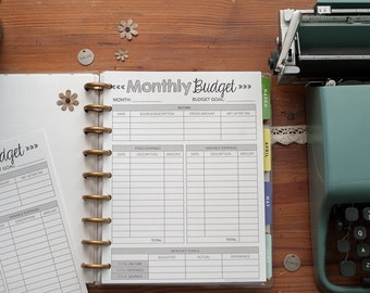 monthly budget letter size big happy planner inserts circa finance reporting forms mambi create 365 planner inserts refills budgeting
