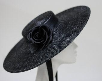 The NoirNoir Hat - Black Silk Ribbon & Silk Rose - Gaucho Luxury - Fashion Designer Womens