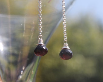Red quartz faceted briolette drop earrings