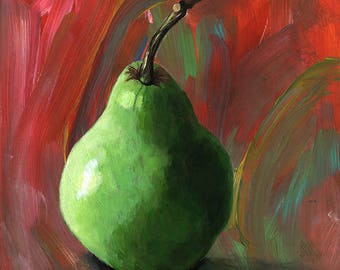 Green Pear on Abstract