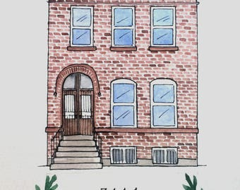 Custom Watercolor Home Portrait 5 x 7 Housewarming Gift Realtor Closing Gift