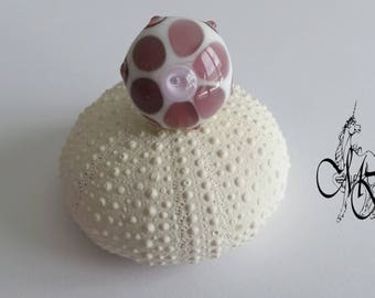 White rose Lampwork bead ring