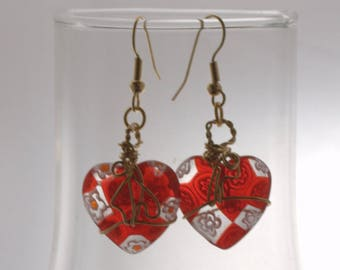 Heart Earrings Millefiori Glass Wire Wrapped Several Colors, Valentine Earrings, gift for her