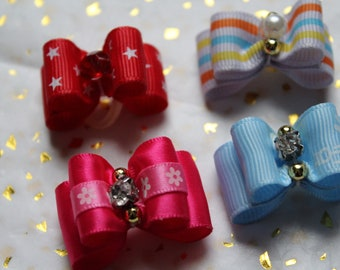 Mini assorted rubber band bows for dogs