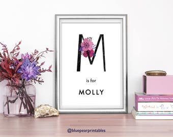 Molly Printable Wall Art 8x10 Print Printable Watercolor Custom Stationary Kids Prints Customized Art Kids Poster Floral Name Art