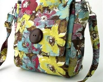 Floral bag, backpack converts to crossbody bag, retro bag, floral purse, fabric bags, Mother's Day gift, shoulder purse, zip bag, fit Ipad