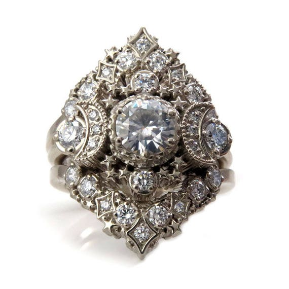 Cosmos Constellation Engagement Ring Set - Moissanite or Diamonds Custom Wedding Set - 14k Palladium White Gold, Rose Gold or Yellow Gold