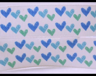 """Green and Blue Hearts Printed Grosgrain Ribbon 7/8"""" Wide Scrapbooking HairBows Parties DIY Projects az200"""