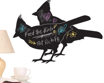 Cardinal Birds Chalkboard Vinyl Wall Decal: Kitchen Decor, Bird Decor Vinyl Chalk Board, Bird Lover Decor, Kids Playroom Decor (0177b4v)