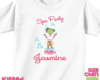 Personalized African American Spa Party T-shirt Bodysuit Girl Spa Birthday Party Shirt