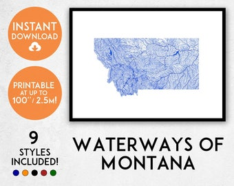 Montana map print, Printable Montana map art, Montana print, Montana art, Montana poster, Montana wall art, Montana gift, Map of Montana