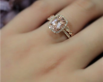 18K Rose Gold Engagement Ring Set Pear Natural VS Pink