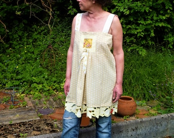 """top/tunic with straps, white and beige with dots border """"fruity"""""""