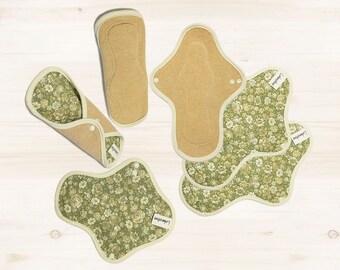 6 Organic cloth pads set / Cotton Reusable Cloth Menstruation Pads / Washable pads - 3 Light day pads & 3 Regular pads (Antique green)