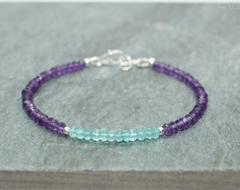 Amethyst and Apatite Bracelet, Apatite Amethyst Jewelry, Gemstone Bracelet, Sterling Silver, February Birthstone