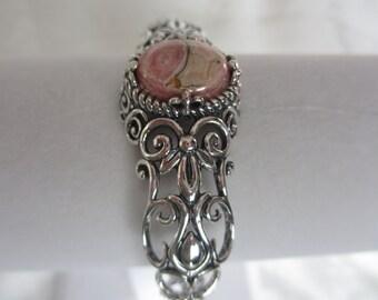 Sterling Silver Pink Rhodochrosite Scroll Heart Cuff Bracelet