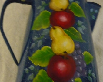 Hand Painted Metal Coffee Pot Decorated With Yellow Pears, Red Apples, Purple Grapes And Green Leaves