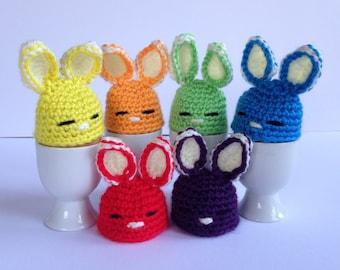 Easter Bunny egg cozies. Set of 6 crochet egg warmers. Easter gift for children.