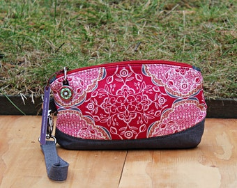 Clematis Wristlet cell phone clutch, wristlet wallet, evening purse, small clutch, red/gray wristlet, zippered clutch, removable strap