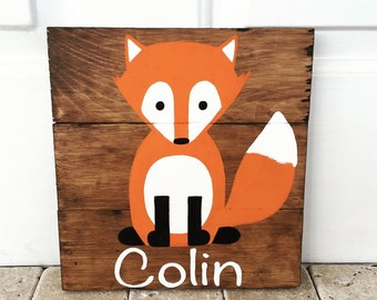 Personalized fox sign, clever little fox, fox nursery, woodland nursery, forest animals, baby shower, Christmas present