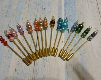 Stick pins, gold toned, stick pin, lapel pin, hat pin, hijab pin, glass pearl stick pins, hijab stick pin, beaded stick pin, gift for her
