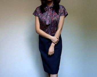 70s Paisley Dress Navy Ascot Tie Dress Fall Office Simple Secretary Dress - Large L