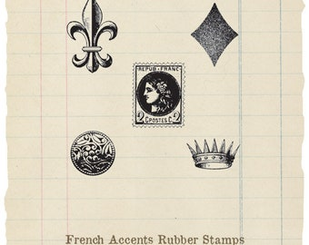 French accents unmounted rubber stamps (5 stamps)