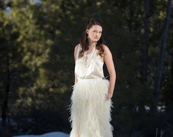 Custom Full Length Ostrich Feather Skirt with Train -Wedding Dress -Long Feather Skirt -Burning Man -Trumpet Skirt