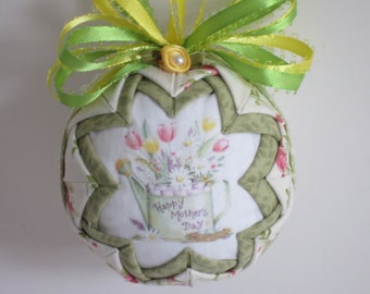 Quilted Ornament, Mothers Day Ornament, Floral Ornament, Watering Can Ornament, Christmas Ball, Christmas Ornament, Ribbon Ornament
