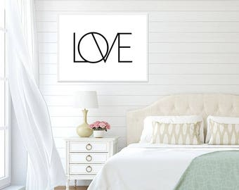 Love Poster - Love Art Print, Digital Download, Black and White Art Print, Monochrome Room Decor, Modern Decor Love Print Printable Wall Art