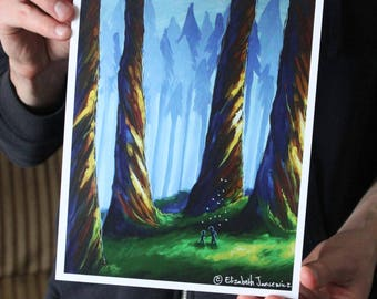 Exploring a Giant Forest; Fine Art Print