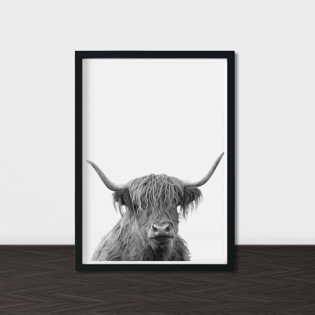 Highland Cow Print Printable Art Wall Art Black and White