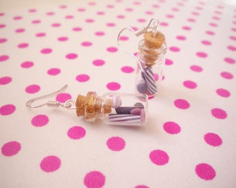 Purple candy jar earrings