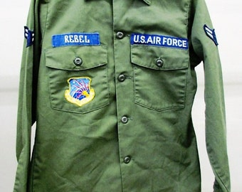 Vintage U.S. Air Force L/S 1970s Airman's Blouse, Airman Rebel, Air Force Communications Service Lightning Bolt Patch