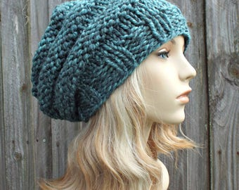 Womens Hat Slouchy Beanie - Oversized Beehive Beret - Blueberry Turquoise Blue Knit Hat - Blue Beret Blue Beanie Blue Hat