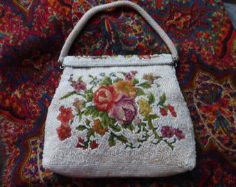 Exquisite Vintage White Beaded Purse Floral Petit Point Evening Purse Bag