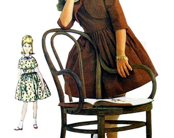 1969 Advance 3083 Girl's Flared Skirt Dress and Matching Short Jacket Sewing Pattern Size 8