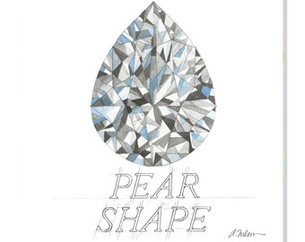 Pear Shape Diamond Watercolor Rendering printed on Canvas