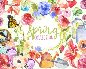Watercolor Spring Collection, Spring Clip art, Spring graphics, seasonal images, Spring florals, Watercolor clip art, spring clipart, garden
